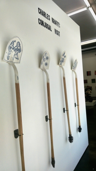 Charles Krafft, 4 shovels, Hand painted slip cast porcelain with human ashes