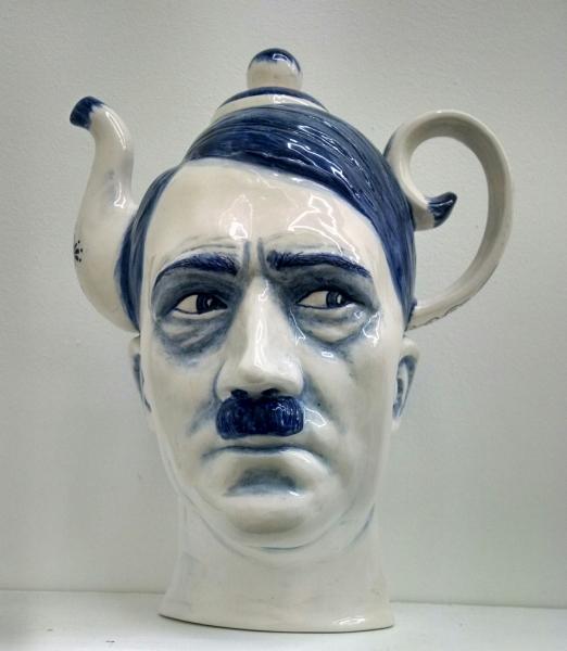 Charles Krafft, Hitler Teapot, Hand painted slip cast porcelain.