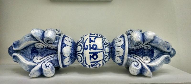 Charles Krafft, Tibetan Vajra, Hand painted slip cast porcelain.