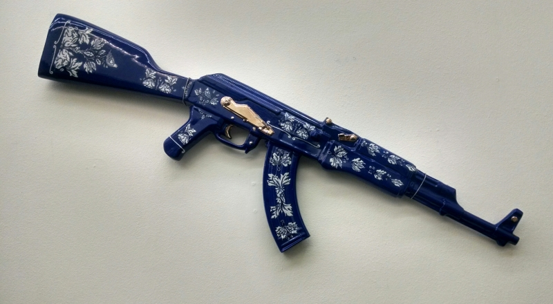 Charles Krafft, Blue on White Ming Ak 47, Hand painted slip cast porcelain, 2014.