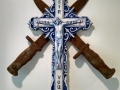 Charles Krafft, Sin Will Find You, Crucifix with crossed bayonets, Hand painted slip cast porcelain, 2016.