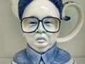 Charles Krafft, Kim Jong Ill Teapot, Hand painted slip cast porcelain.