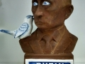 Charles Krafft, Rusty Putin Bust, Hand painted slip cast porcelain.