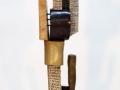 "Clara Hoag,Empire, Fired Stoneware, clay, glaze, epoxy,steel, threaded rod. 40""x11""x10"", 2015."
