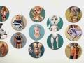 """Thedra Cullar-Ledford, Trump's Dolls, Oil on canvas, 20""""x20"""" each."""