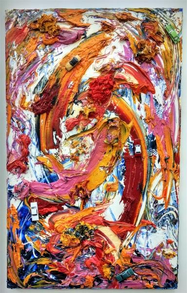 """Dukes-Of-Hazard, Oil on canvas, 4x2.5"""", 2015"""