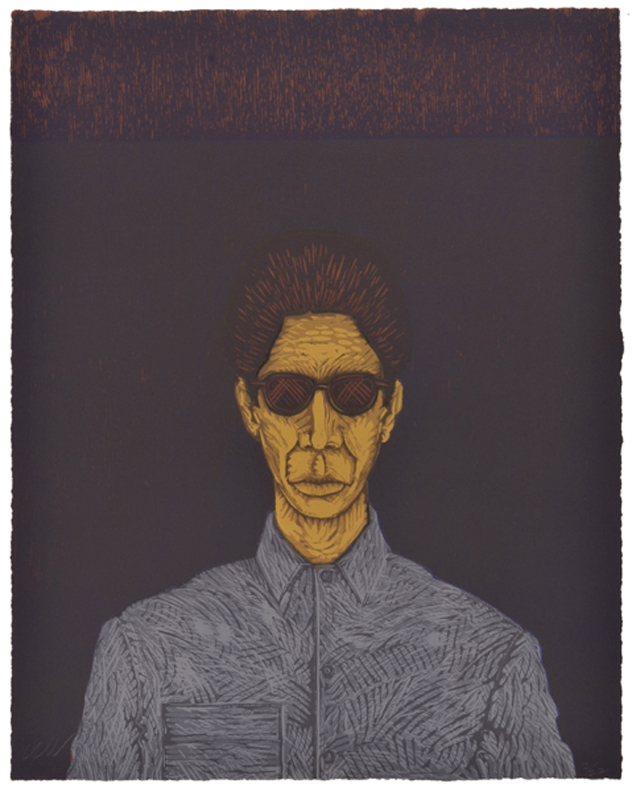"BATO CON SUNGLASSES (in maroon) linoleum and woodblock print  19 7/8"" x 15 1/2"" 1990 printed by the artist 2 prints, numbers 10/22 and 12/22"