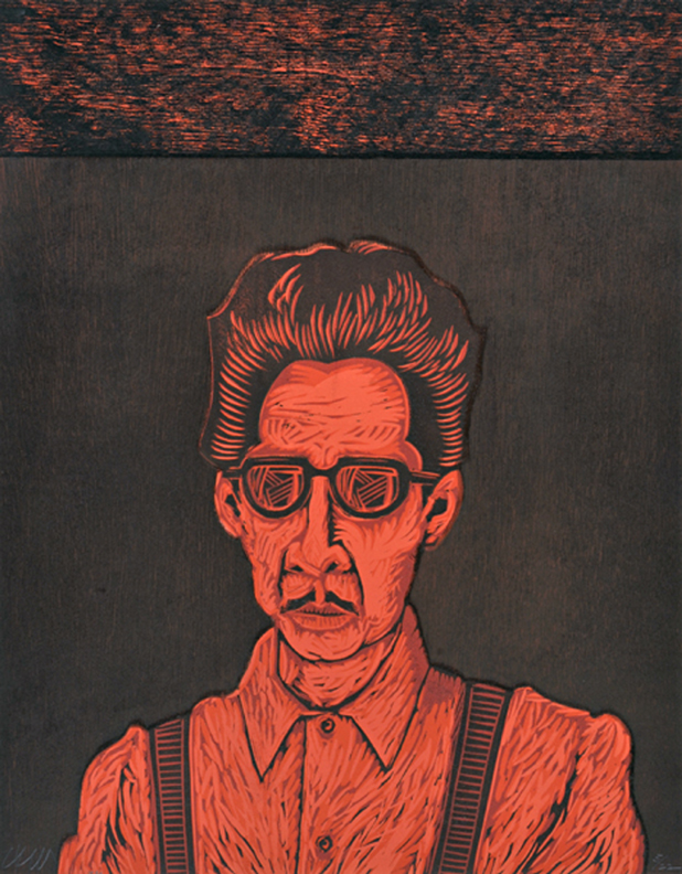 "Bato Rojo linoleum and wood block print 22 1/8"" x 17 ¼"" 1990 printed by the artist  edition:  22 2 prints, numbers 19/22 and 20/22"