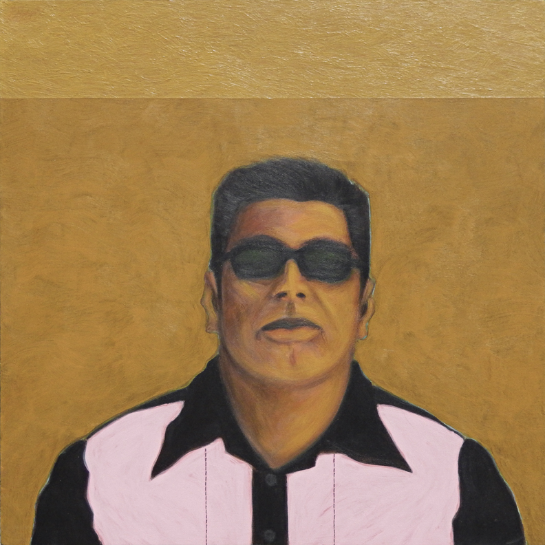 "Bato Con Pink and Black Shirt acrylic on muslin 18"" x 18"" 2010"